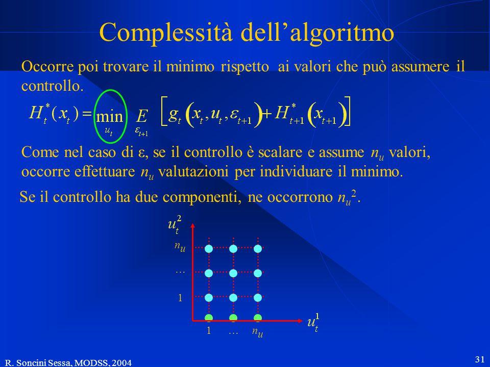 R. Soncini Sessa, MODSS, 2004 31 Complessità dell'algoritmo Occorre poi trovare il minimo rispetto ai valori che può assumere il controllo. Come nel c