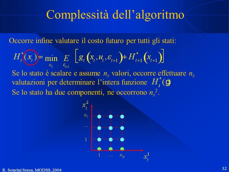 R. Soncini Sessa, MODSS, 2004 32 Complessità dell'algoritmo Occorre infine valutare il costo futuro per tutti gli stati: Se lo stato ha due componenti