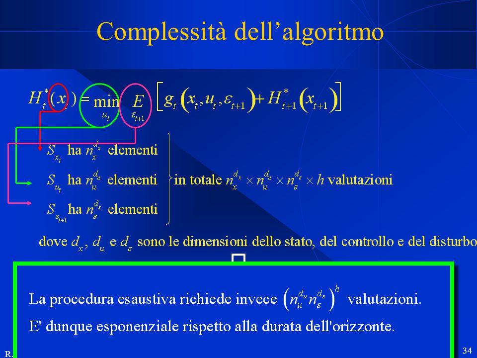 R. Soncini Sessa, MODSS, 2004 34 Complessità dell'algoritmo Il tempo di calcolo della DP cresce: esponenzialmente con la dimensione di stato, controll