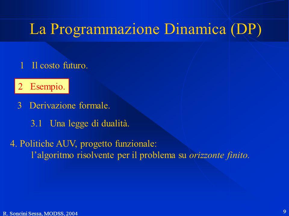 R. Soncini Sessa, MODSS, 2004 9 La Programmazione Dinamica (DP) 1 Il costo futuro.