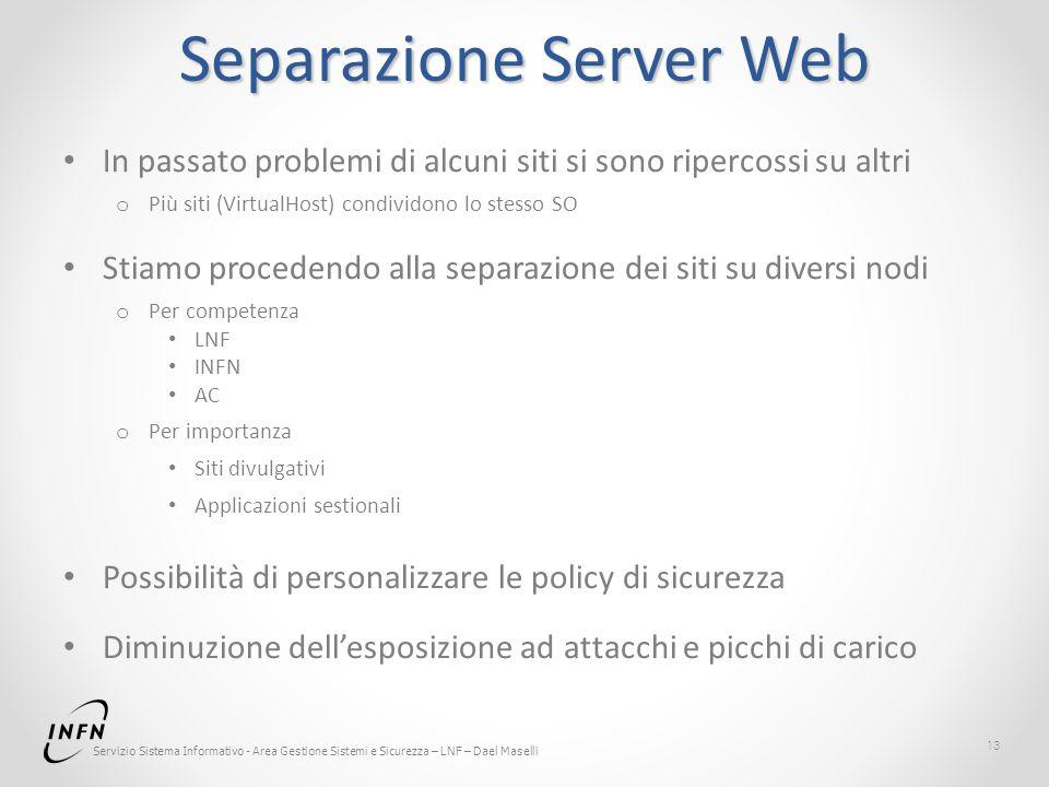 Servizio Sistema Informativo - Area Gestione Sistemi e Sicurezza – LNF – Dael Maselli Separazione Server Web In passato problemi di alcuni siti si son