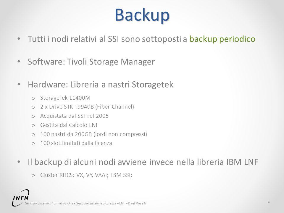 Servizio Sistema Informativo - Area Gestione Sistemi e Sicurezza – LNF – Dael Maselli Backup Tutti i nodi relativi al SSI sono sottoposti a backup per
