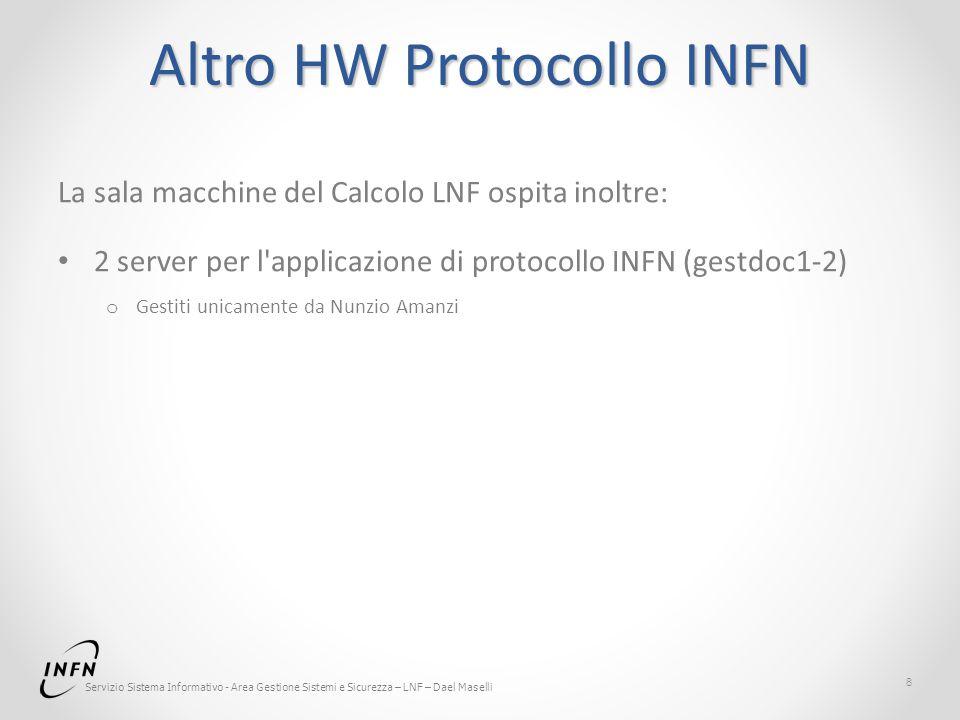 Servizio Sistema Informativo - Area Gestione Sistemi e Sicurezza – LNF – Dael Maselli Altro HW Protocollo INFN La sala macchine del Calcolo LNF ospita