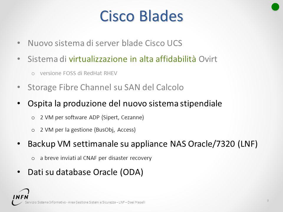 Servizio Sistema Informativo - Area Gestione Sistemi e Sicurezza – LNF – Dael Maselli Cisco Blades Nuovo sistema di server blade Cisco UCS Sistema di