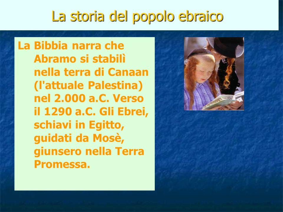 La storia del popolo ebraico La Bibbia narra che Abramo si stabilì nella terra di Canaan (l'attuale Palestina) nel 2.000 a.C. Verso il 1290 a.C. Gli E