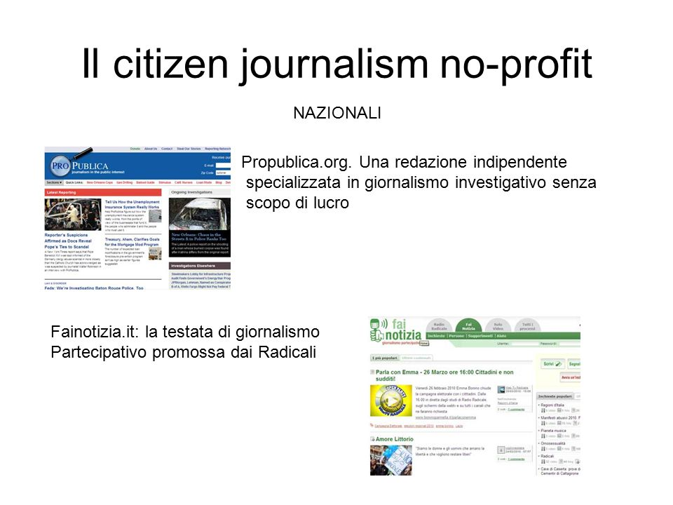 NAZIONALI Il citizen journalism no-profit Propublica.org.