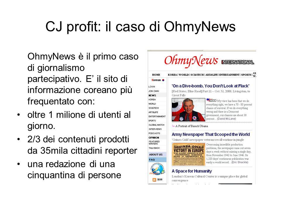 CJ profit: il caso di OhmyNews OhmyNews è il primo caso di giornalismo partecipativo.