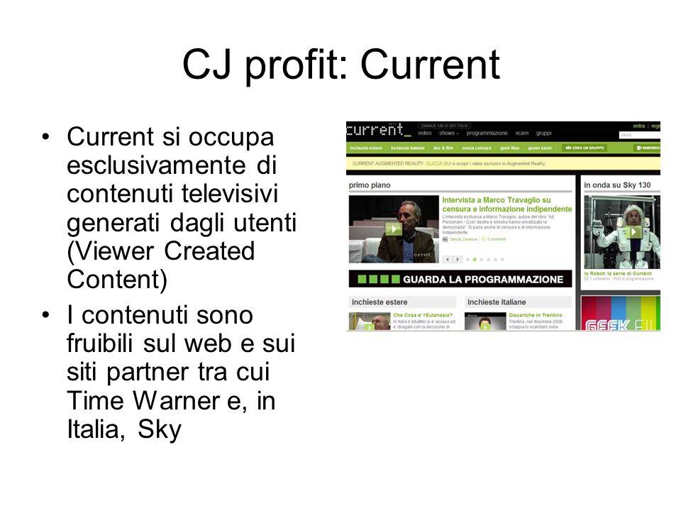 Current si occupa esclusivamente di contenuti televisivi generati dagli utenti (Viewer Created Content) I contenuti sono fruibili sul web e sui siti partner tra cui Time Warner e, in Italia, Sky CJ profit: Current
