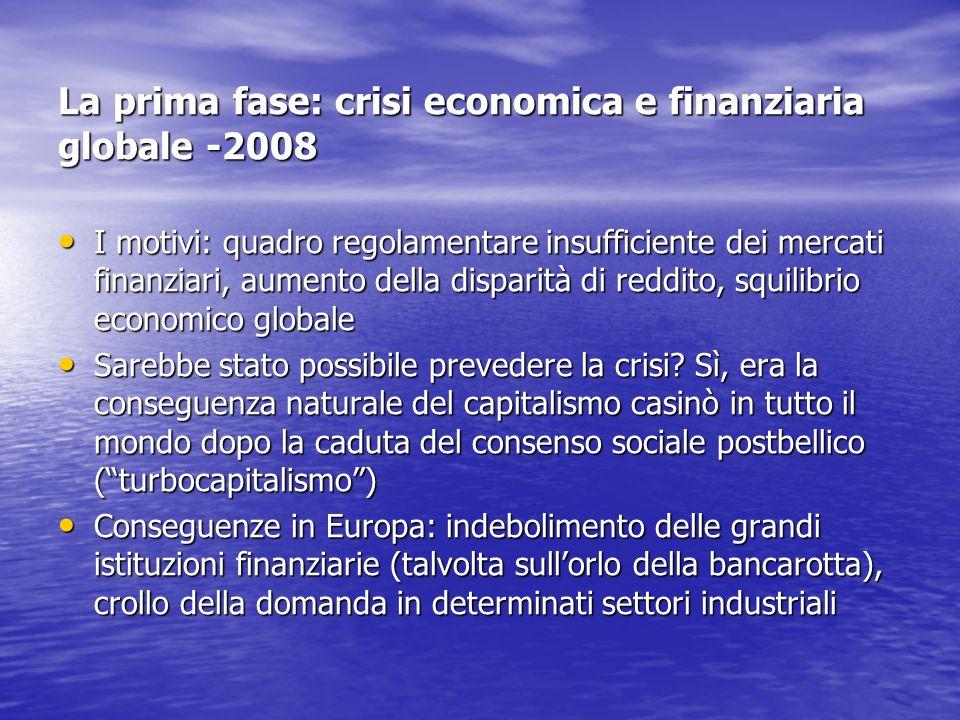 La prima fase: crisi economica e finanziaria globale -2008 I motivi: quadro regolamentare insufficiente dei mercati finanziari, aumento della disparit