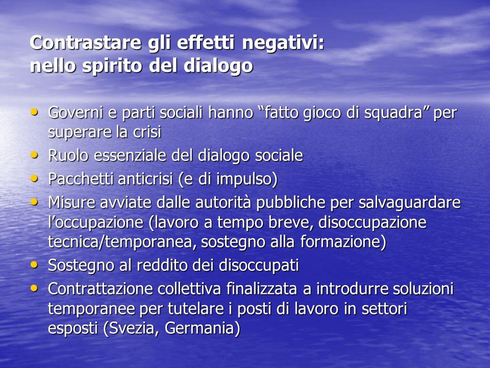 """Contrastare gli effetti negativi: nello spirito del dialogo Governi e parti sociali hanno """"fatto gioco di squadra"""" per superare la crisi Governi e par"""