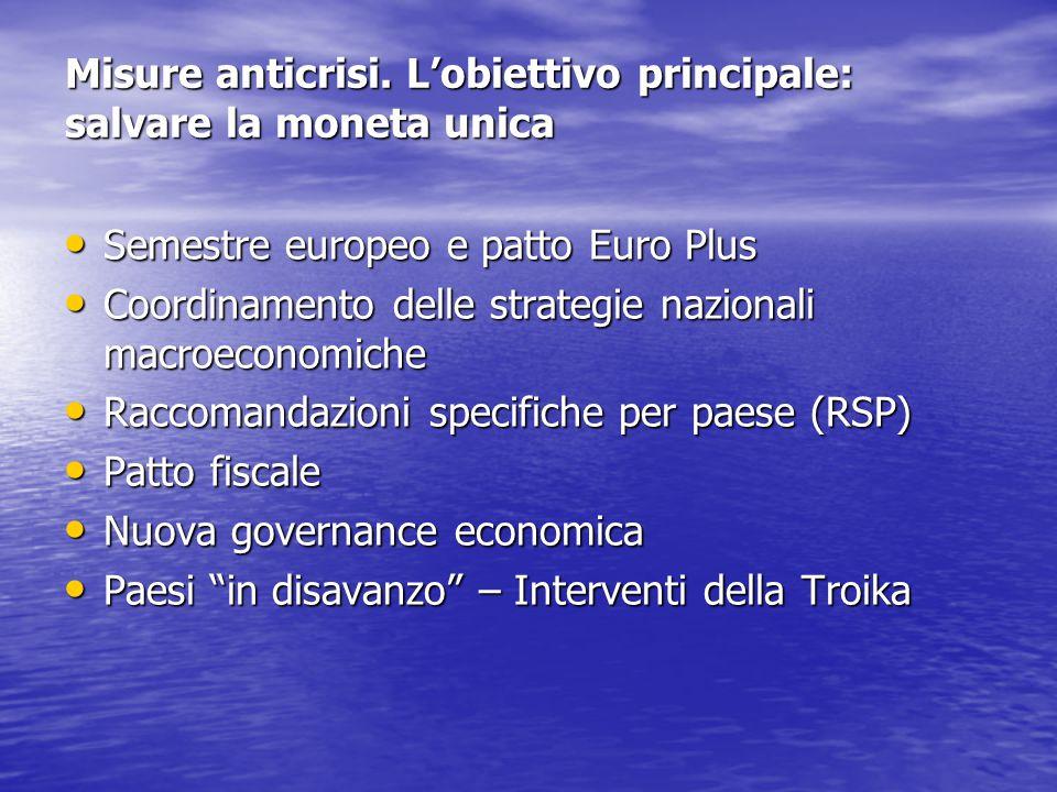 Misure anticrisi. L'obiettivo principale: salvare la moneta unica Semestre europeo e patto Euro Plus Semestre europeo e patto Euro Plus Coordinamento