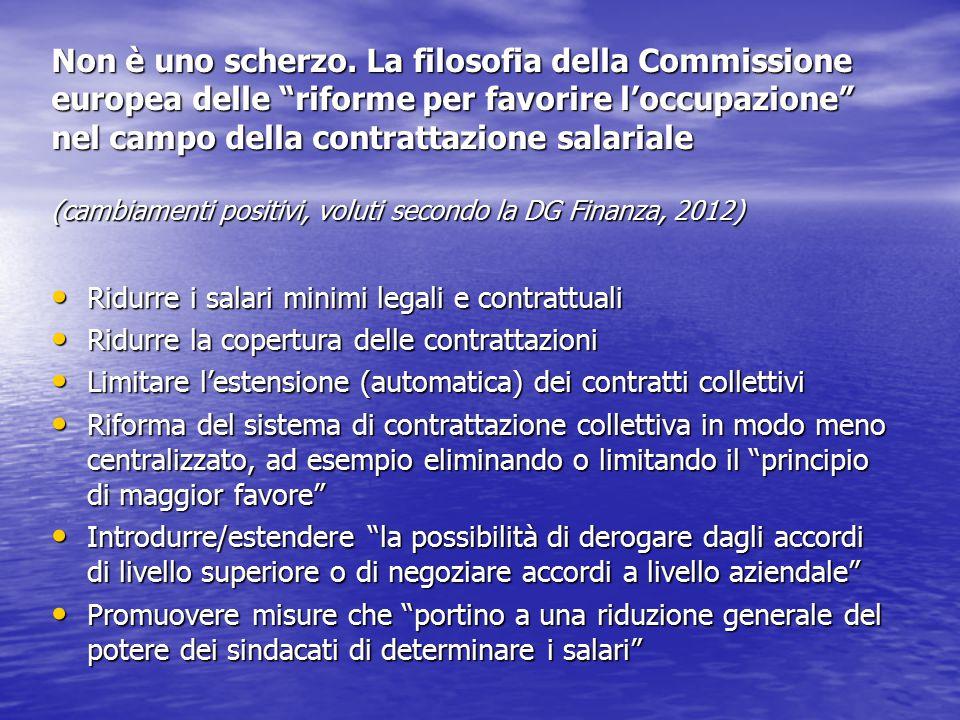 """Non è uno scherzo. La filosofia della Commissione europea delle """"riforme per favorire l'occupazione"""" nel campo della contrattazione salariale (cambiam"""