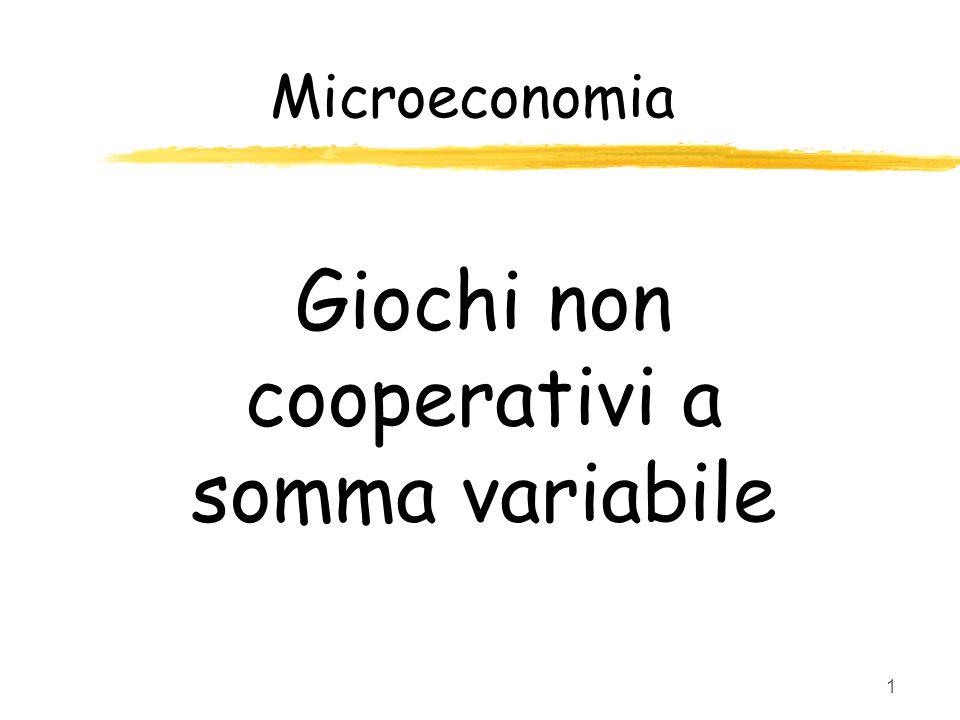 1 Giochi non cooperativi a somma variabile Microeconomia