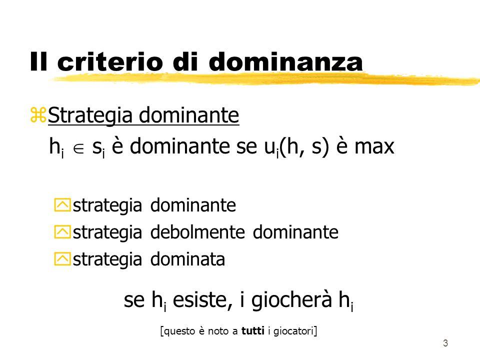 3 Il criterio di dominanza zStrategia dominante h i  s i è dominante se u i (h, s) è max ystrategia dominante ystrategia debolmente dominante ystrate