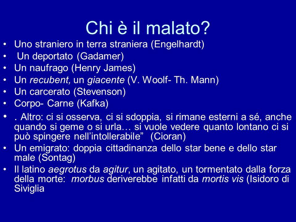 Chi è il malato? Uno straniero in terra straniera (Engelhardt) Un deportato (Gadamer) Un naufrago (Henry James) Un recubent, un giacente (V. Woolf- Th