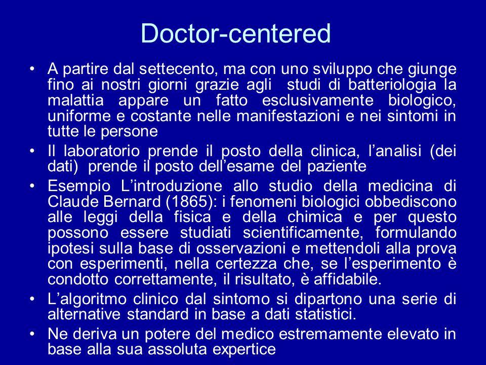 Doctor-centered A partire dal settecento, ma con uno sviluppo che giunge fino ai nostri giorni grazie agli studi di batteriologia la malattia appare u