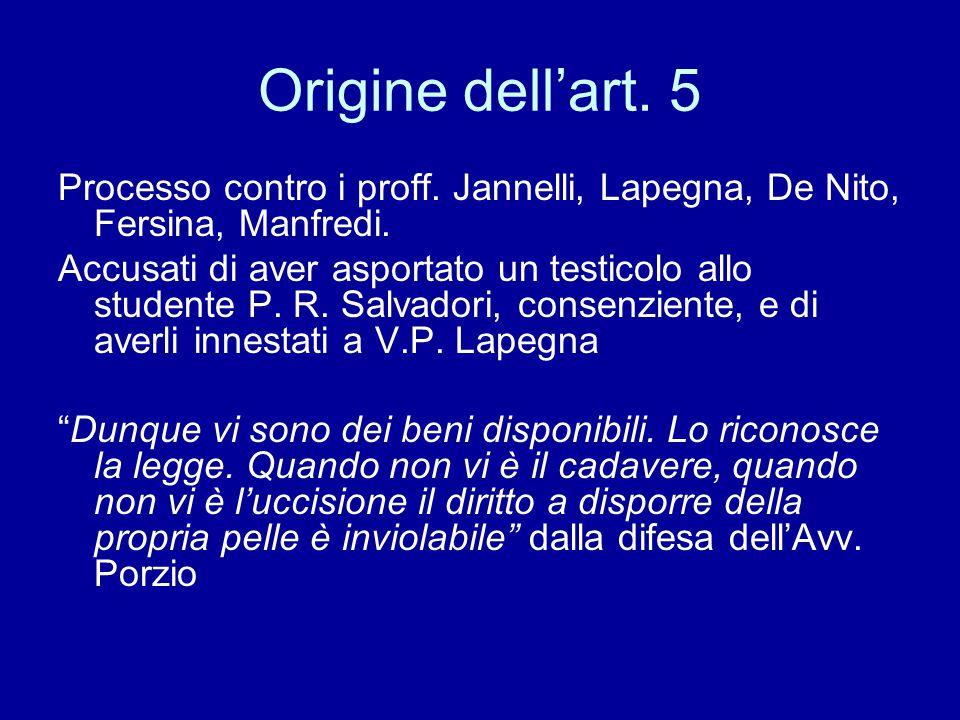 Origine dell'art. 5 Processo contro i proff. Jannelli, Lapegna, De Nito, Fersina, Manfredi. Accusati di aver asportato un testicolo allo studente P. R