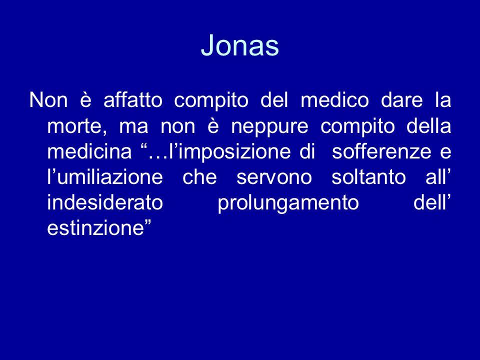 """Jonas Non è affatto compito del medico dare la morte, ma non è neppure compito della medicina """"…l'imposizione di sofferenze e l'umiliazione che servon"""