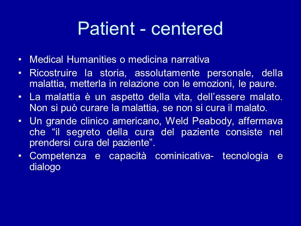 Patient - centered Medical Humanities o medicina narrativa Ricostruire la storia, assolutamente personale, della malattia, metterla in relazione con l