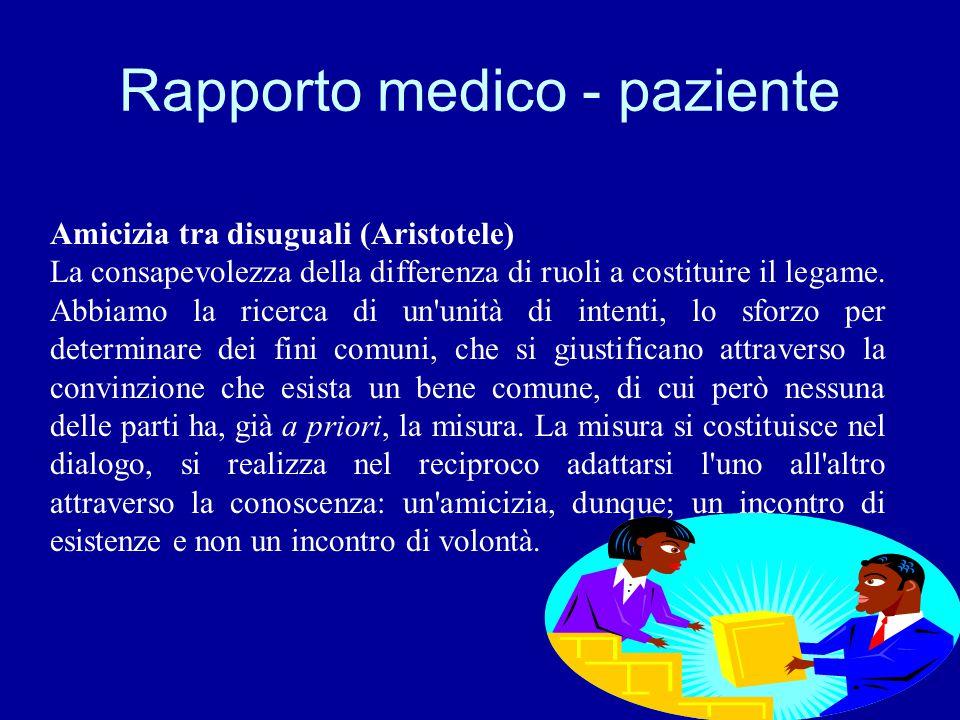 Rapporto medico - paziente Amicizia tra disuguali (Aristotele) La consapevolezza della differenza di ruoli a costituire il legame. Abbiamo la ricerca