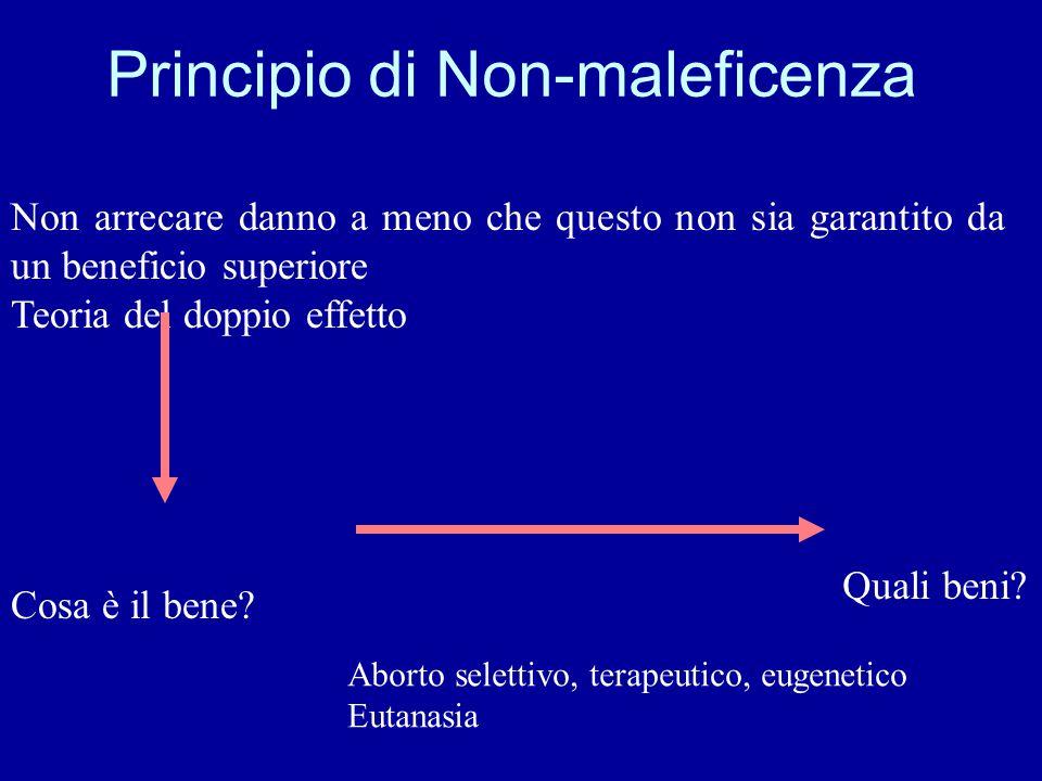 Principio di Non-maleficenza Non arrecare danno a meno che questo non sia garantito da un beneficio superiore Teoria del doppio effetto Cosa è il bene