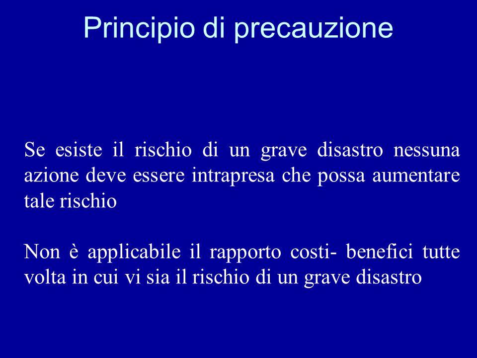 Principio di precauzione Se esiste il rischio di un grave disastro nessuna azione deve essere intrapresa che possa aumentare tale rischio Non è applic