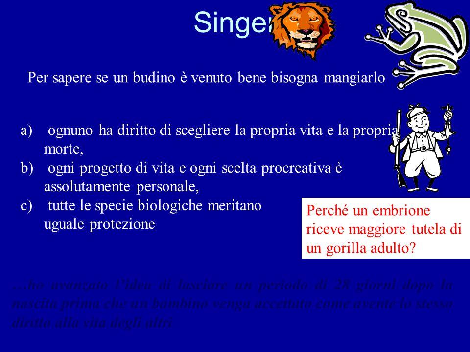 Singer Per sapere se un budino è venuto bene bisogna mangiarlo a) ognuno ha diritto di scegliere la propria vita e la propria morte, b) ogni progetto