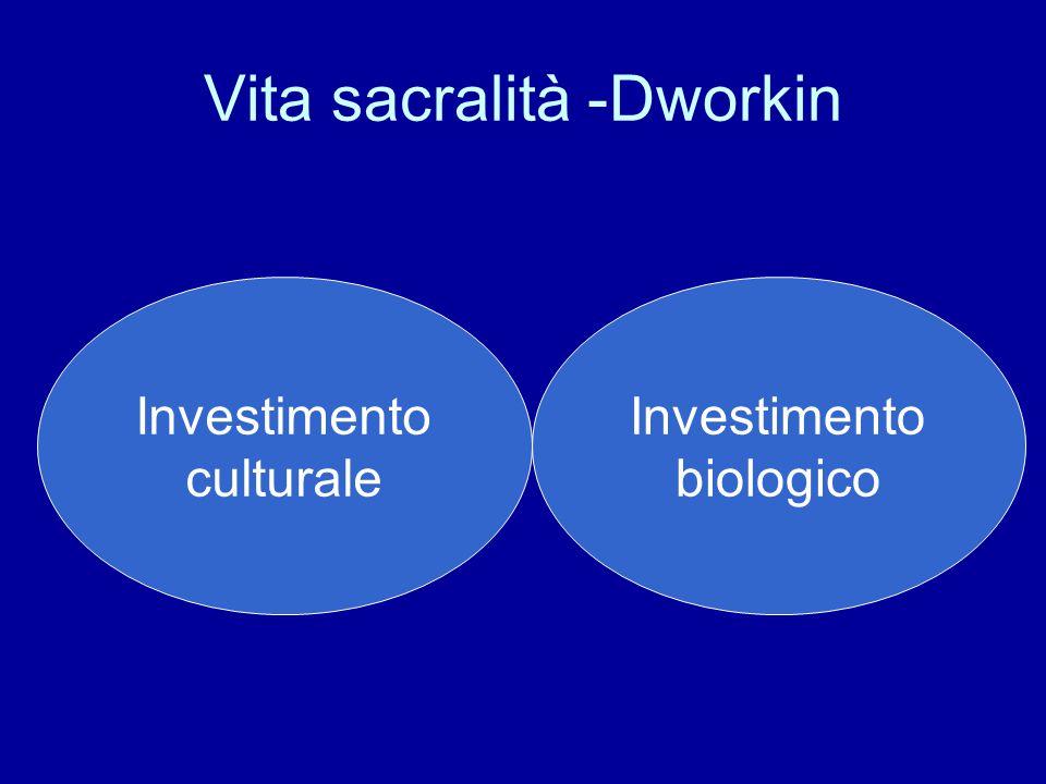Vita sacralità -Dworkin Investimento culturale Investimento biologico