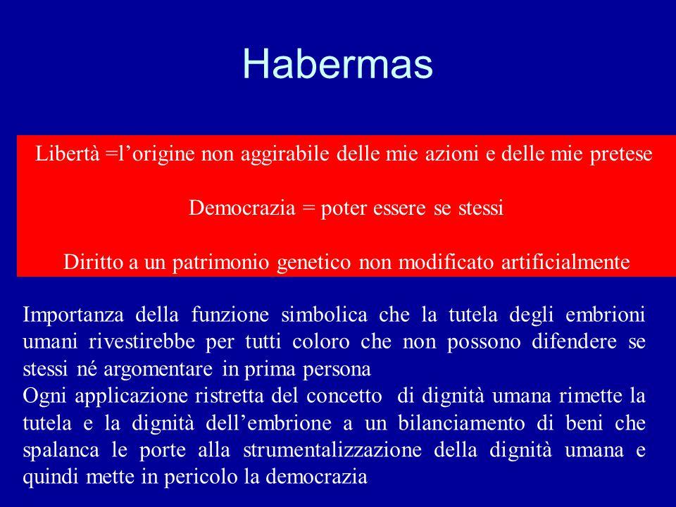 Habermas Libertà =l'origine non aggirabile delle mie azioni e delle mie pretese Democrazia = poter essere se stessi Diritto a un patrimonio genetico n