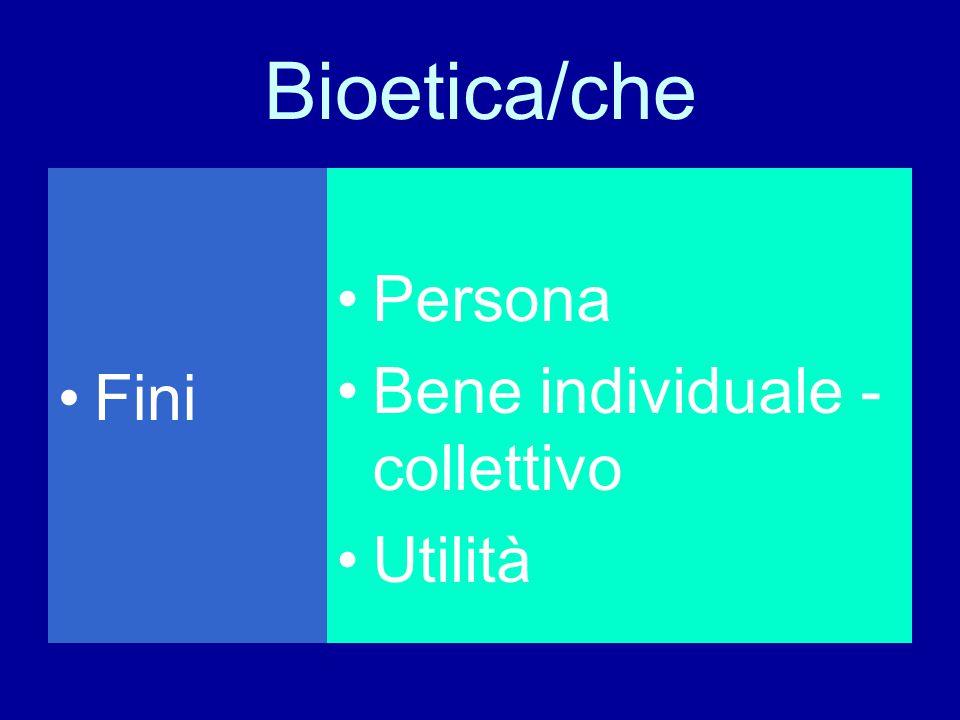 Bioetica/che Fini Persona Bene individuale - collettivo Utilità