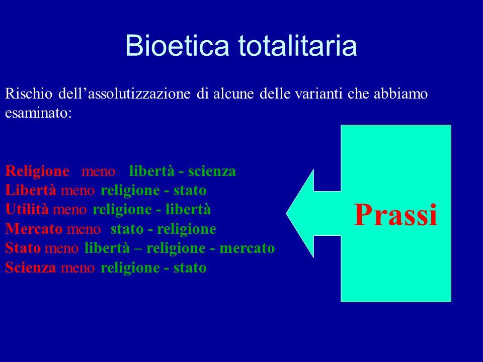 Bioetica totalitaria Rischio dell'assolutizzazione di alcune delle varianti che abbiamo esaminato: Religione meno libertà - scienza Libertà meno relig