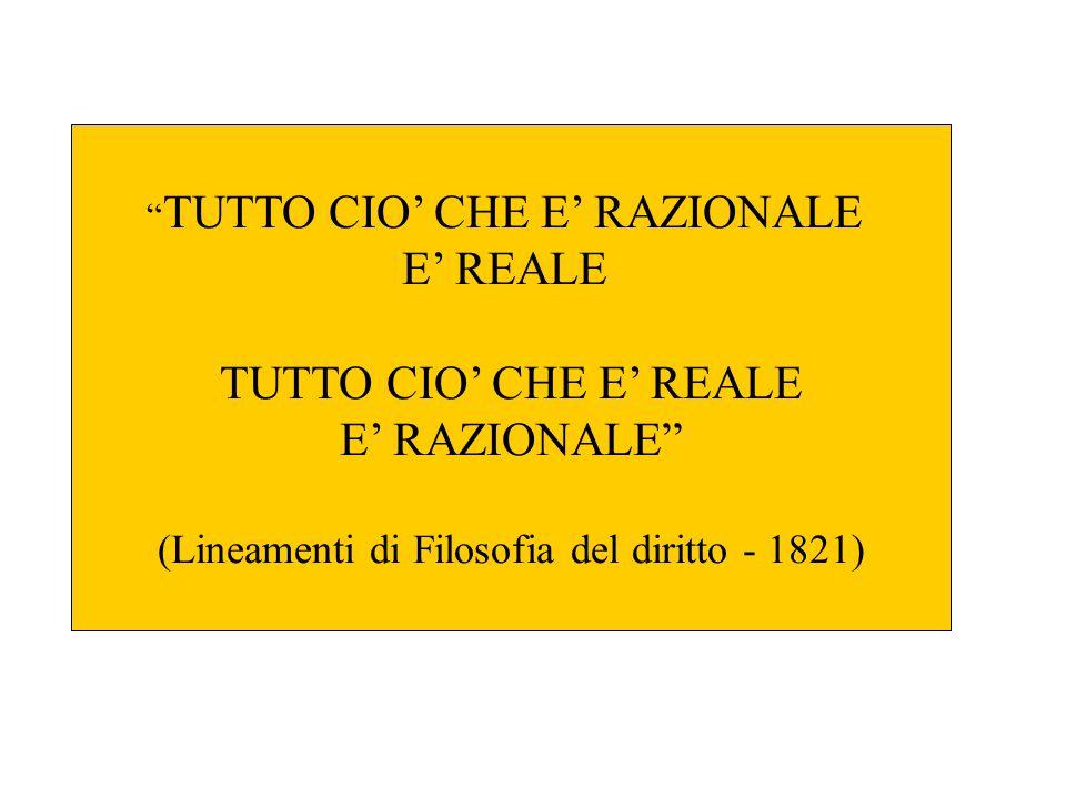 """"""" TUTTO CIO' CHE E' RAZIONALE E' REALE TUTTO CIO' CHE E' REALE E' RAZIONALE"""" (Lineamenti di Filosofia del diritto - 1821)"""