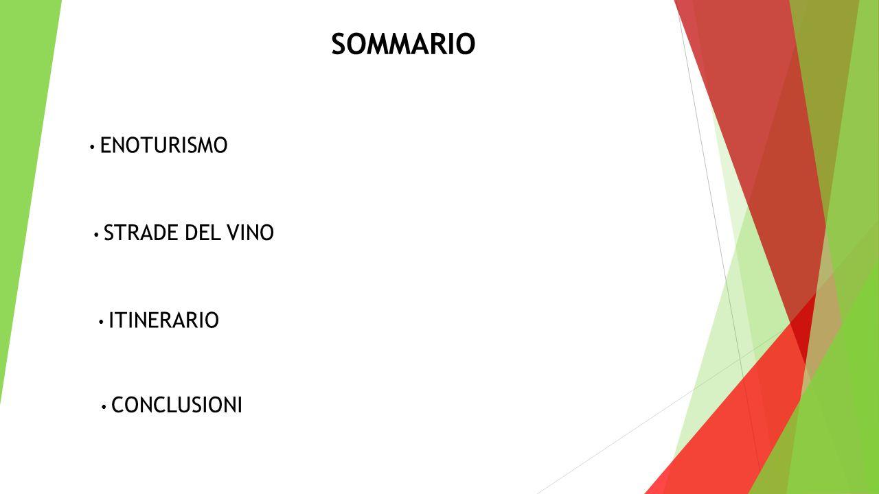 SOMMARIO ENOTURISMO STRADE DEL VINO ITINERARIO CONCLUSIONI