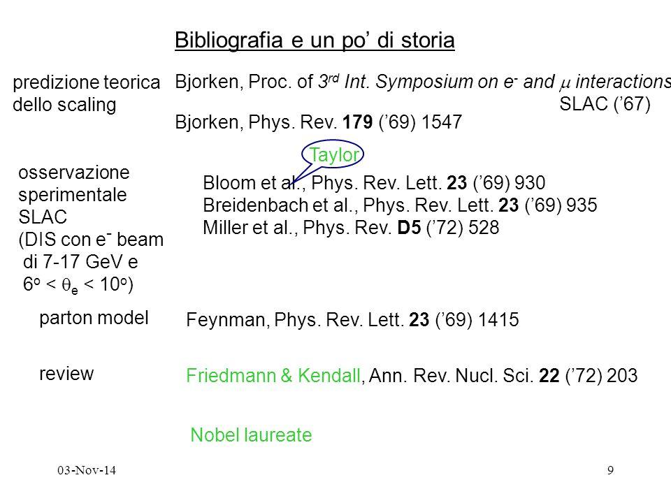 03-Nov-149 Bibliografia e un po' di storia predizione teorica dello scaling Bjorken, Proc.