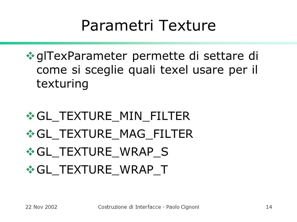 22 Nov 2002Costruzione di Interfacce - Paolo Cignoni14 Parametri Texture  glTexParameter permette di settare di come si sceglie quali texel usare per il texturing  GL_TEXTURE_MIN_FILTER  GL_TEXTURE_MAG_FILTER  GL_TEXTURE_WRAP_S  GL_TEXTURE_WRAP_T