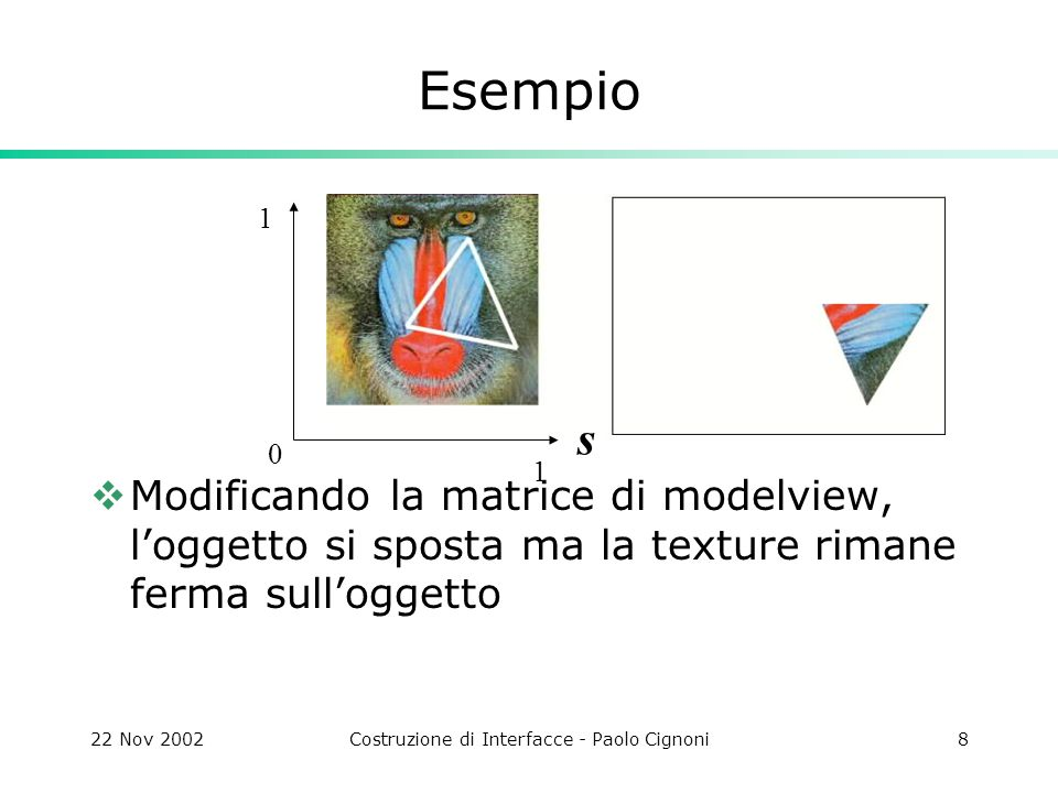 22 Nov 2002Costruzione di Interfacce - Paolo Cignoni8 Esempio  Modificando la matrice di modelview, l'oggetto si sposta ma la texture rimane ferma sull'oggetto s 1 1 0