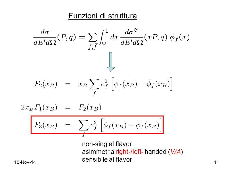 10-Nov-1411 Funzioni di struttura non-singlet flavor asimmetria right-/left- handed (V/A) sensibile al flavor