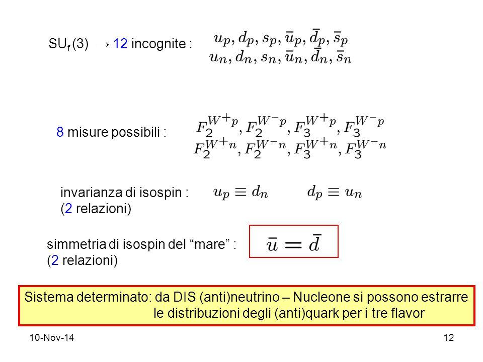 10-Nov-1412 SU f (3) → 12 incognite : 8 misure possibili : invarianza di isospin : (2 relazioni) simmetria di isospin del mare : (2 relazioni) Sistema determinato: da DIS (anti)neutrino – Nucleone si possono estrarre le distribuzioni degli (anti)quark per i tre flavor
