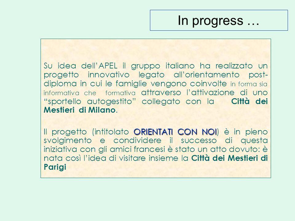 In progress … Su idea dell'APEL il gruppo italiano ha realizzato un progetto innovativo legato all'orientamento post- diploma in cui le famiglie vengono coinvolte in forma sia informativa che formativa attraverso l'attivazione di uno sportello autogestito collegato con la Città dei Mestieri di Milano.