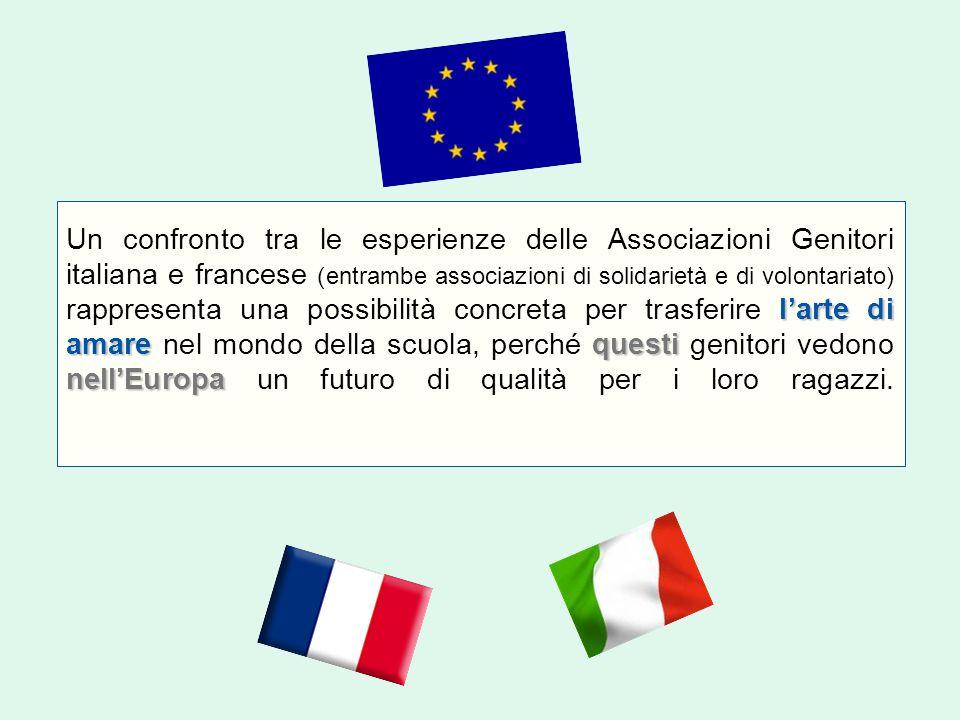 l'arte di amarequesti nell'Europa Un confronto tra le esperienze delle Associazioni Genitori italiana e francese (entrambe associazioni di solidarietà e di volontariato) rappresenta una possibilità concreta per trasferire l'arte di amare nel mondo della scuola, perché questi genitori vedono nell'Europa un futuro di qualità per i loro ragazzi.