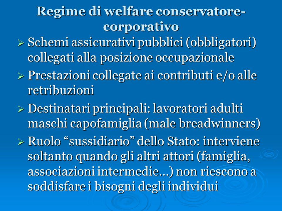 Regime di welfare conservatore- corporativo  Schemi assicurativi pubblici (obbligatori) collegati alla posizione occupazionale  Prestazioni collegat