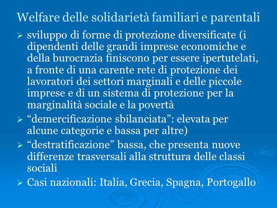 Welfare delle solidarietà familiari e parentali   sviluppo di forme di protezione diversificate (i dipendenti delle grandi imprese economiche e dell