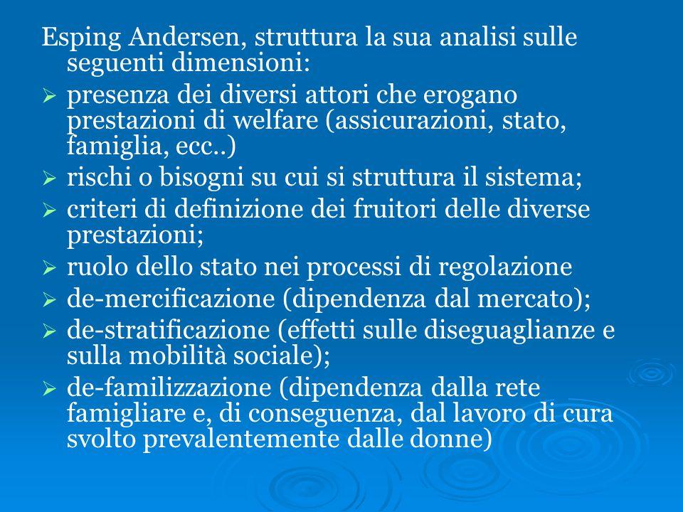 Esping Andersen, struttura la sua analisi sulle seguenti dimensioni:   presenza dei diversi attori che erogano prestazioni di welfare (assicurazioni