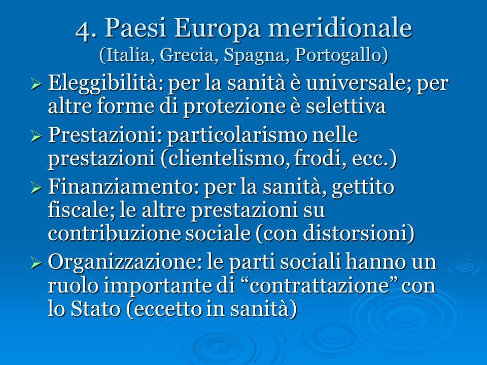 4. Paesi Europa meridionale (Italia, Grecia, Spagna, Portogallo)  Eleggibilità: per la sanità è universale; per altre forme di protezione è selettiva