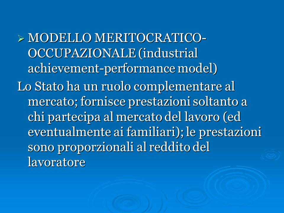  MODELLO ISTITUZIONALE REDISTRIBUTIVO (institutional redistributive model) Lo Stato ha un ruolo decisivo e garantisce direttamente la protezione sociale e l'assicurazione per tutti i cittadini; le prestazioni sono universalistiche
