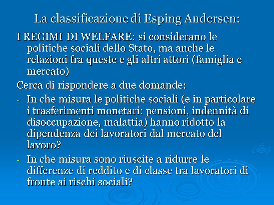 La classificazione di Esping Andersen: I REGIMI DI WELFARE: si considerano le politiche sociali dello Stato, ma anche le relazioni fra queste e gli al