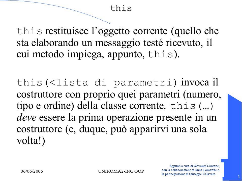 Appunti a cura di Giovanni Cantone, con la collaborazione di Anna Lomartire e la partecipazione di Giuseppe Calavaro 3 06/06/2006UNIROMA2-ING OOPthis