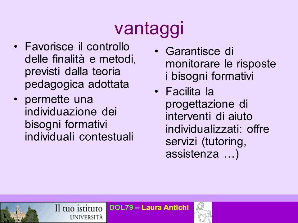 DOL79 – Laura Antichi vantaggi Favorisce il controllo delle finalità e metodi, previsti dalla teoria pedagogica adottata permette una individuazione d