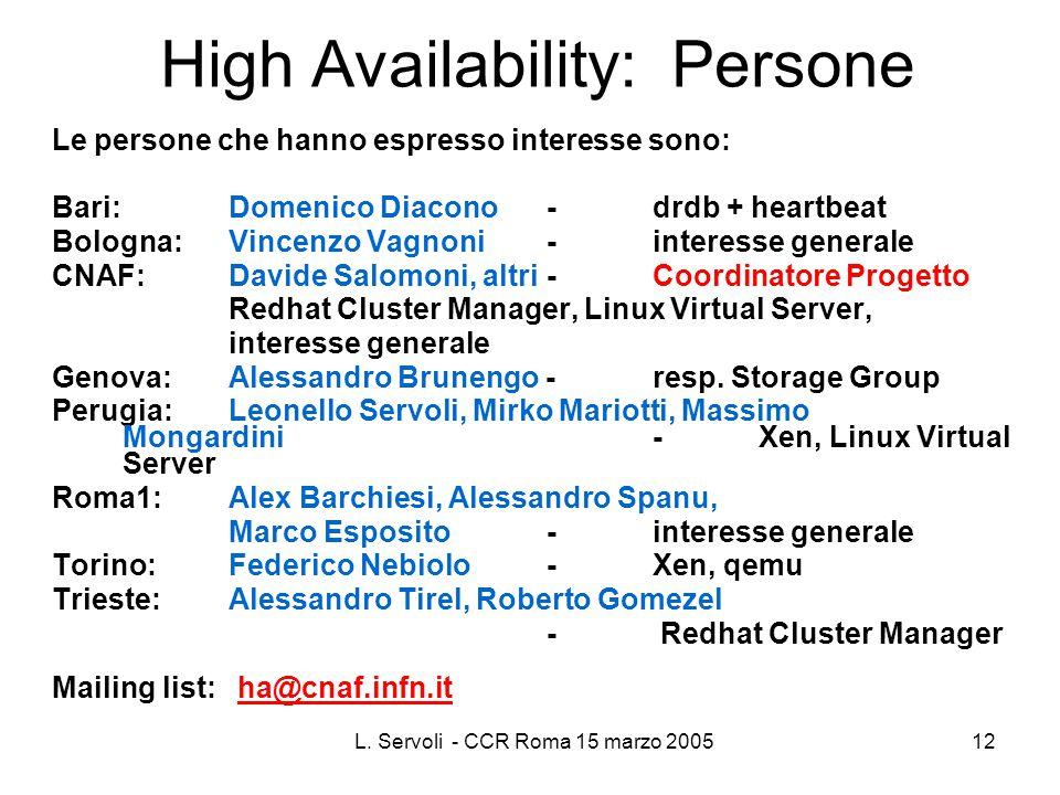 L. Servoli - CCR Roma 15 marzo 200512 High Availability: Persone Le persone che hanno espresso interesse sono: Bari: Domenico Diacono -drdb + heartbea