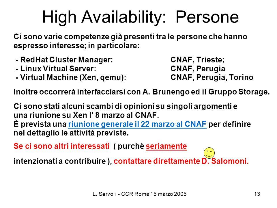 L. Servoli - CCR Roma 15 marzo 200513 High Availability: Persone Ci sono varie competenze già presenti tra le persone che hanno espresso interesse; in